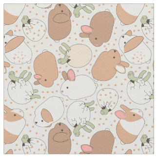 Tortoise and Baby Bunnies Fabric