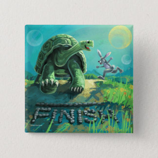 Tortoise and the Hare Art 2 Inch Square Button