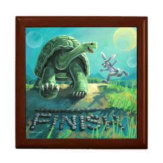 Tortoise and the Hare Art Jewelry Box