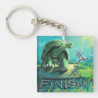Tortoise and the Hare Art Single-Sided Square Acrylic Keychain