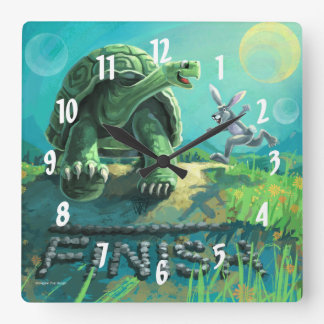 Tortoise and the Hare Art Square Wall Clock