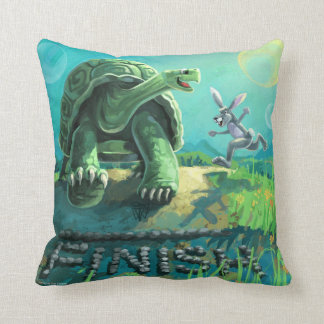 Tortoise and the  Hare Art Throw Pillow