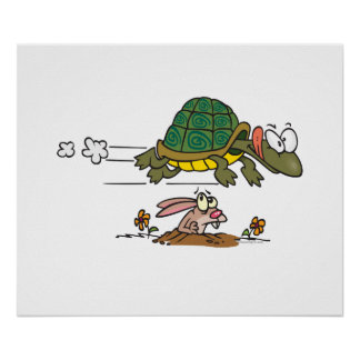 tortoise and the hare funny fable cartoon print
