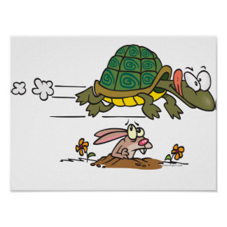 tortoise and the hare funny fable cartoon posters