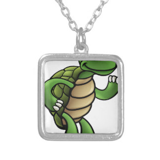 Tortoise Cartoon Character Silver Plated Necklace