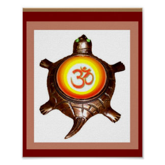 TORTOISE Copper Statue - OM MANTRA on back Poster
