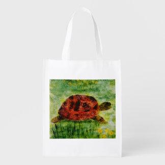 Tortoise in the Garden Art Grocery Bag