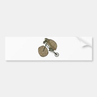 Tortoise Riding Bike W/ Tortoise Shell Wheels Bumper Sticker