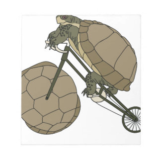 Tortoise Riding Bike W/ Tortoise Shell Wheels Notepad
