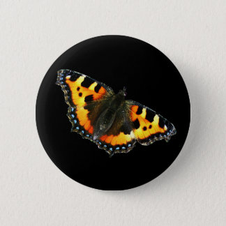 Tortoise shell butterfly 2 inch round button