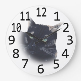 Tortoise Shell Cat Face Head Painting Wall Clocks