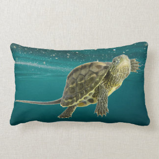 Tortoise Swimming Underwater Lumbar Pillow