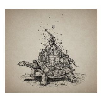 Tortoise Town - pen and ink illustration Poster