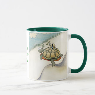 Tortoise with snail in safetybelt mug