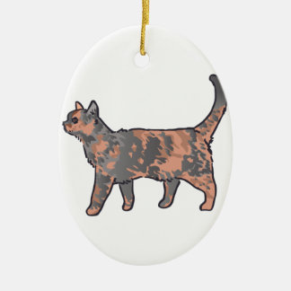 Tortoiseshell Cat Ceramic Ornament