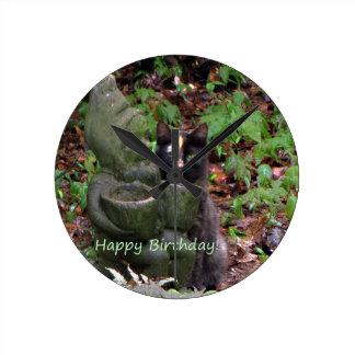 Tortoiseshell Cat HAPPY BIRTHDAY Clock