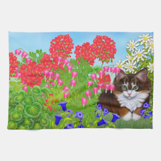 Tortoiseshell Kitten in Garden Kitchen Towel