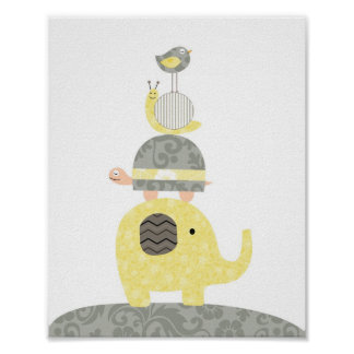 Tortue d'oiseau d'éléphant d'illustration d'art de affiche