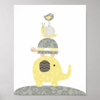 Tortue d'oiseau d'éléphant d'illustration d'art de poster