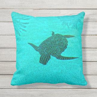 Tortuga Turtle Mosaic on Sanibel Island Florida Outdoor Pillow