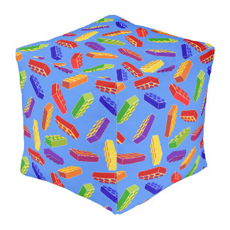 Tossed toy building block print pillow