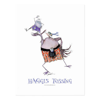 tossing the haggis postcard