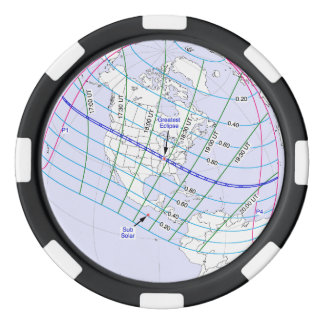 Total Solar Eclipse 2017 Global Path Poker Chips