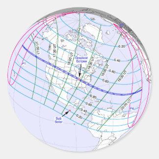 Total Solar Eclipse 2017 Global Path Round Sticker