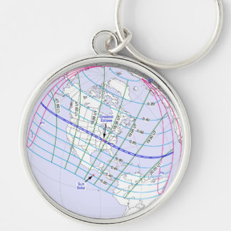 Total Solar Eclipse 2017 Global Path Silver-Colored Round Keychain