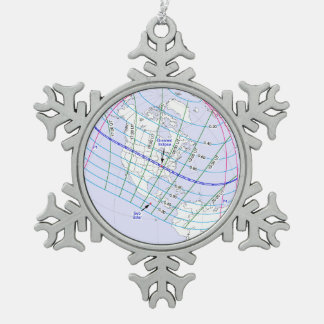 Total Solar Eclipse 2017 Global Path Snowflake Pewter Christmas Ornament