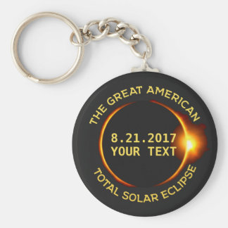 Total Solar Eclipse 8.21.2017 USA Custom Text Basic Round Button Keychain