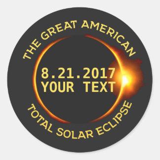 Total Solar Eclipse 8.21.2017 USA Custom Text Classic Round Sticker