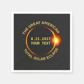 Total Solar Eclipse 8.21.2017 USA Custom Text Paper Napkins