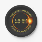Total Solar Eclipse 8.21.2017 USA Custom Text Paper Plate