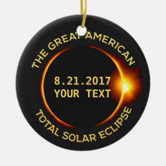 Total Solar Eclipse 8.21.2017 USA Custom Text Round Ceramic Ornament