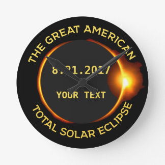 Total Solar Eclipse 8.21.2017 USA Custom Text Round Clock
