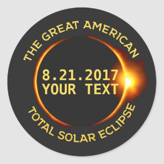 Total Solar Eclipse 8.21.2017 USA Custom Text Round Sticker