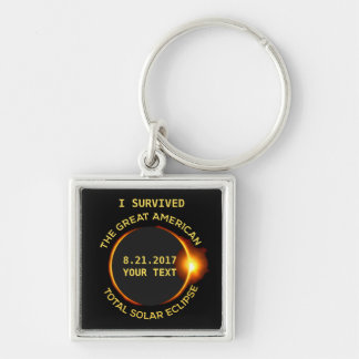 Total Solar Eclipse 8.21.2017 USA Custom Text Silver-Colored Square Keychain