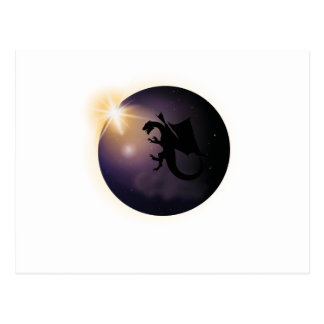 Total Solar Eclipse August 21 2017 Funny dragon Postcard