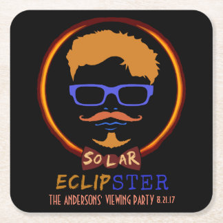 Total Solar Eclipse August 21 2017 Funny Hipster Square Paper Coaster
