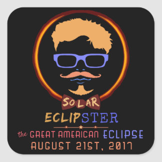 Total Solar Eclipse August 21 2017 Funny Hipster Square Sticker