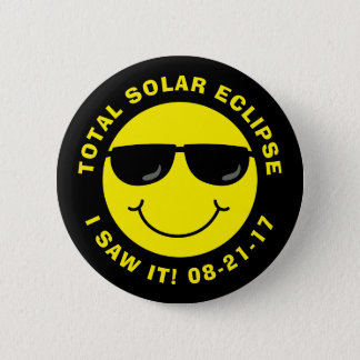 Total Solar Eclipse Cool Smiley Face 2 Inch Round Button