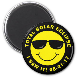 Total Solar Eclipse Cool Smiley Face 2 Inch Round Magnet