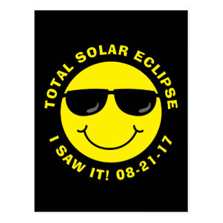 Total Solar Eclipse Cool Smiley Face Postcard