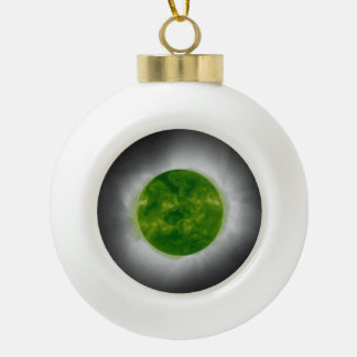 Total Solar Eclipse Green Corona Ceramic Ball Christmas Ornament
