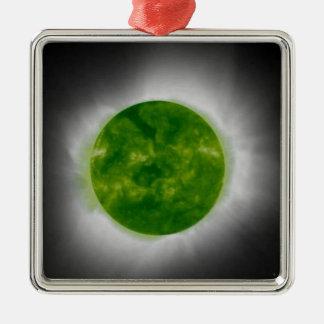 Total Solar Eclipse Green Corona Metal Ornament