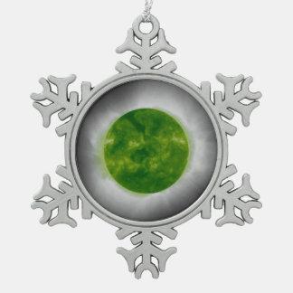 Total Solar Eclipse Green Corona Snowflake Pewter Christmas Ornament