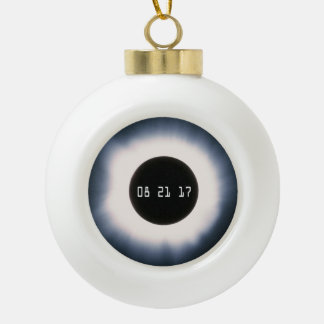 Total Solar Eclipse in Black and White Ceramic Ball Christmas Ornament