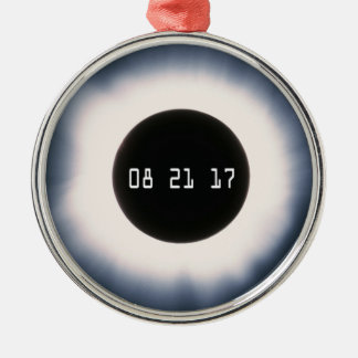 Total Solar Eclipse in Black and White Metal Ornament