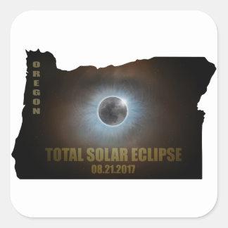 Total Solar Eclipse in Oregon Map Outline Square Sticker
